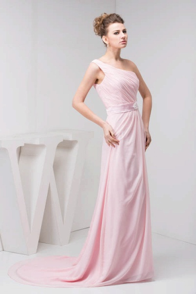LAUREL | A Type Shoulder Drag To Long Sleeveless Chiffon Pink Bridesmaid Dress with Belt_3