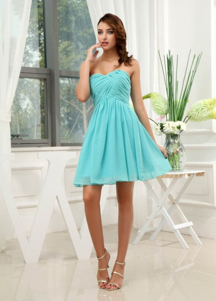 LANEY | A Type Heart-shaped Knee Length Sleeveless Chiffon Jade Green Bridesmaid Dress with Fold_5