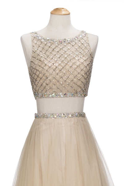 OPHELIA | A-line Two-piece Floor Length Sleeveless Tulle Prom Dresses with Crystals_7