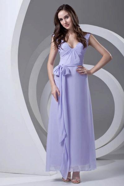LERUC | A Type V-neck Long Sleeveless Chiffon Lilac Purple Bridesmaid Dress with Belt_3