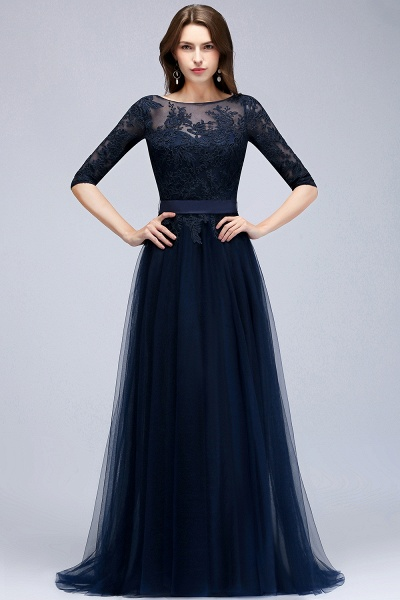 BMbridal Elegant Navy Half-Sleeves Lace Bridesmaid Dresses with Appliques