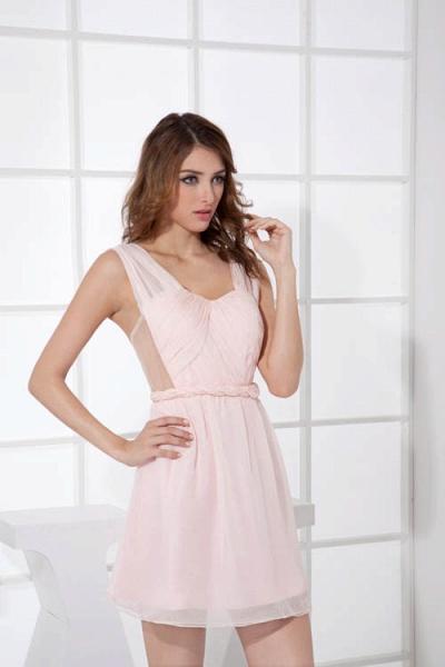 LEONA | A-line Scoop Mini Chiffon Bridesmaid Dresses_6
