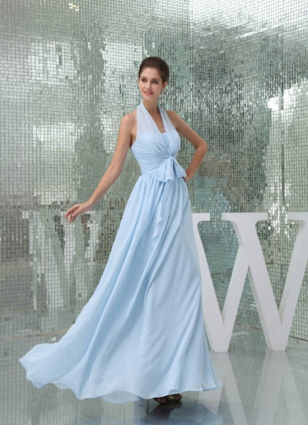 Precious Halter Chiffon A-line Bridesmaid Dress_5