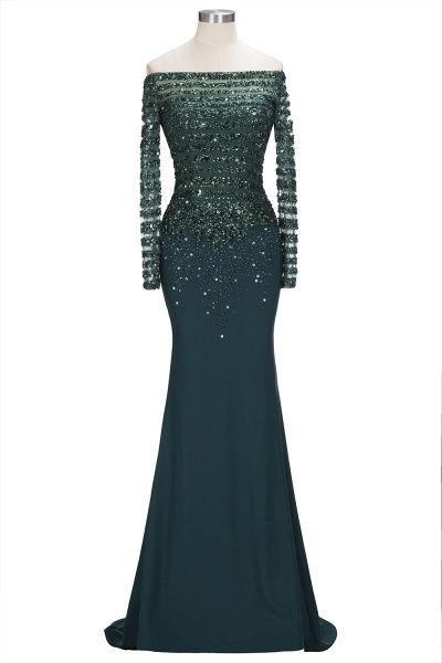 OLYMPIA | Mermaid Long Strapless Long Sleeves Prom Dresses with Sequins and Crystals_1