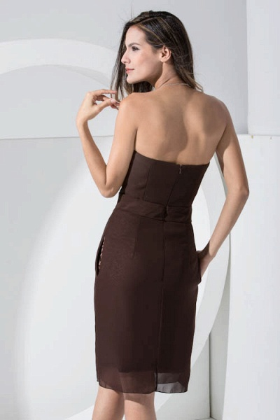 LACEY | A Type Heart-shaped Collar Knee Length Sleeveless Chiffon Chocolate Color Bridesmaid Dress with Bow Tie_8