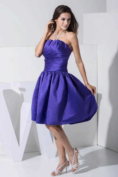 KINLEY | A Type A-Neck Chiffon Blue Bridesmaid Dress with Fold_4