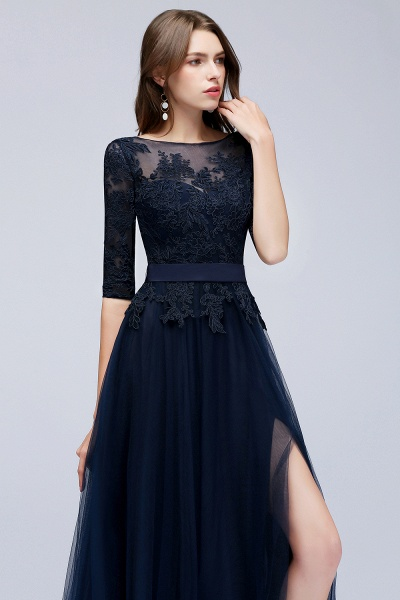 BMbridal Elegant Navy Half-Sleeves Lace Bridesmaid Dresses with Appliques_5