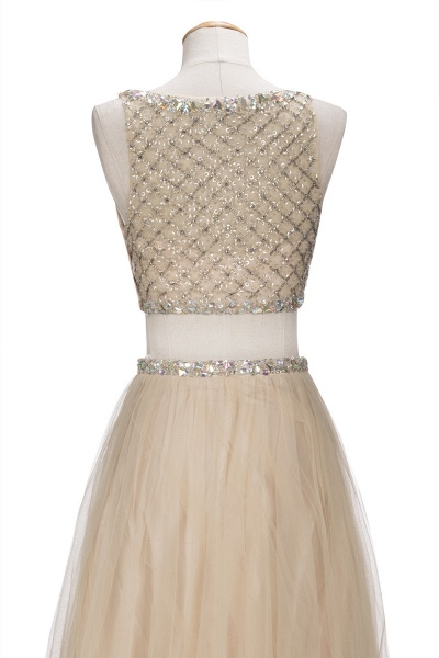 OPHELIA | A-line Two-piece Floor Length Sleeveless Tulle Prom Dresses with Crystals_6