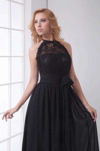 LEANNA | A Type Halter Long Sleeveless Chiffon Black Bridesmaid Dress with Lace_6