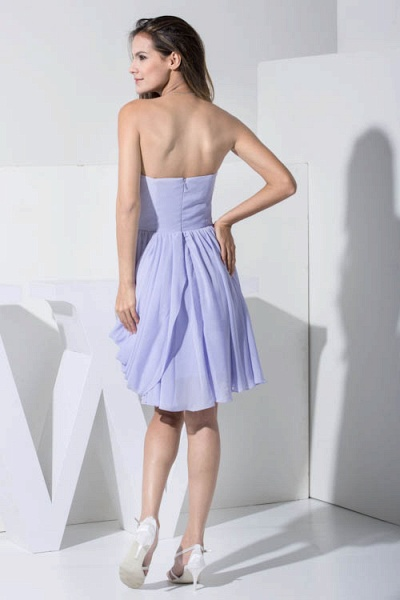 KIMBER | A Type Heart Collar Chiffon Lavender Violet Bridesmaid Dress with Fold_3