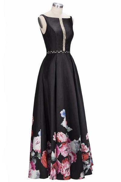 OLIVIA | A-line Floor Length Sleeveless Black Printed Flowers Prom Dresses_4