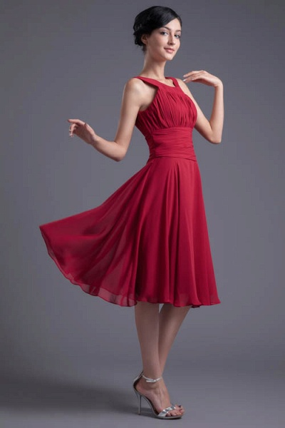 KYLIE | A Type Wide Shoulder Straps Chiffon Bridesmaid Dress with Zip?_4