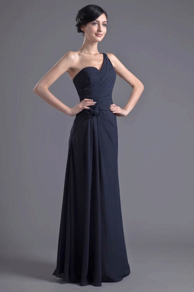 KYLEIGH | A Type One-shoulder Chiffon Bridesmaid Dress with Fold_1