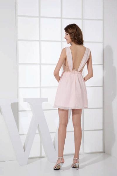 LEONA | A-line Scoop Mini Chiffon Bridesmaid Dresses_3