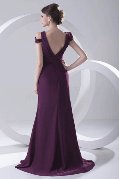 Glorious V-neck Stretch Satin A-line Bridesmaid Dress_4