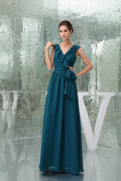 Affordable V-neck Chiffon A-line Bridesmaid Dress_1