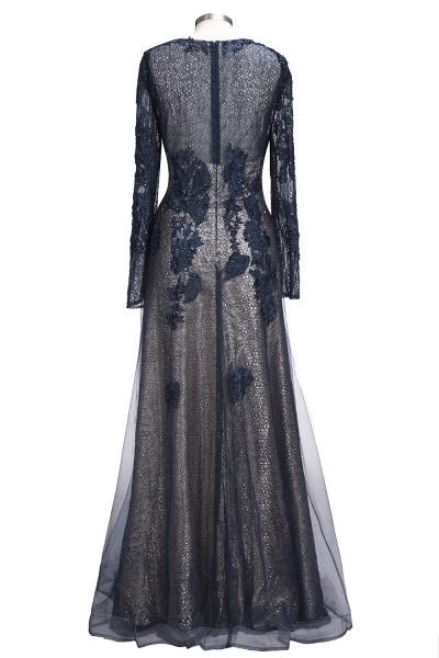 ODETTE | A-line Long Sleeves Floor Length Appliqued Tulle Prom Dresses_3