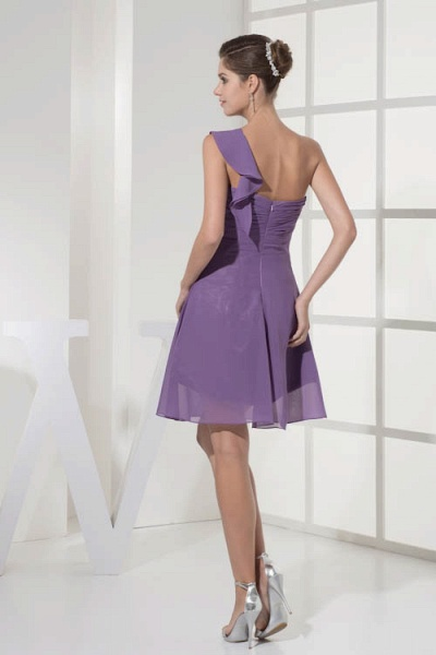 Exquisite One Shoulder Chiffon A-line Bridesmaid Dress_3