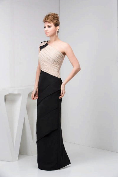 KRISTEN | A Type One Shoulder Black Chiffon Bridesmaid Dress with Fold_8