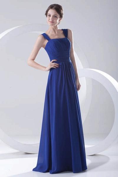 LEIGHTON | A Type A Collar Long SleevelessChiffon Royal Blue Bridesmaid Dress with Small folds_4