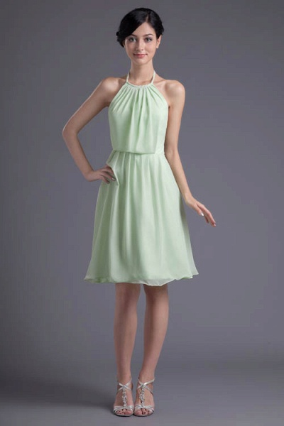 KYLEE | A Type Sector GreenChiffon Bridesmaid Dress with Fold_5