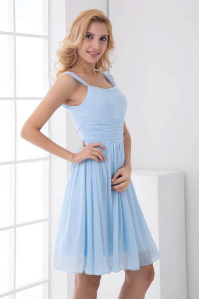 Square Neck Ruffle A-line Chiffon Bridesmaid Dress_5