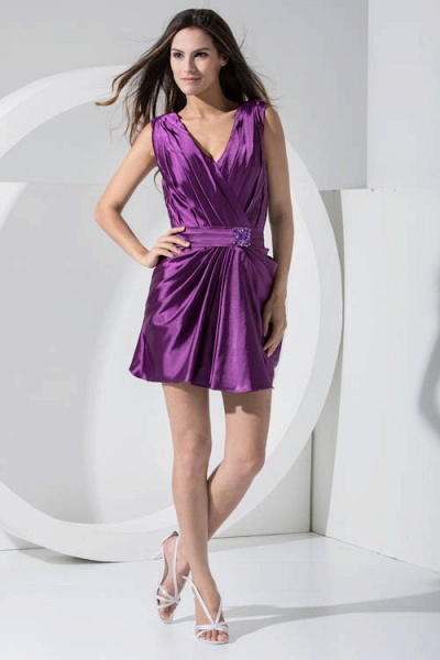 LAILAH | A Type V-neck Knee Length Sleeveless Chiffon Grape Purple Bridesmaid Dress with Fold_3