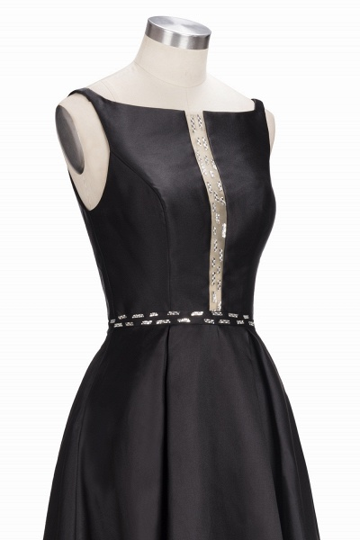OLIVIA | A-line Floor Length Sleeveless Black Printed Flowers Prom Dresses_7