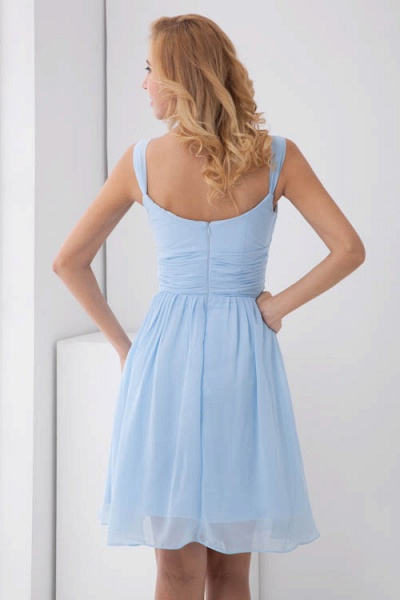 Square Neck Ruffle A-line Chiffon Bridesmaid Dress_3