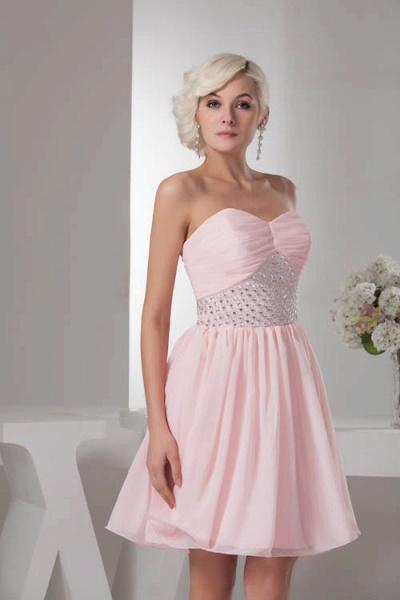 KRISTINA | A Type Heart Collar Chiffon Bridesmaid Dress with Rhinestone_4