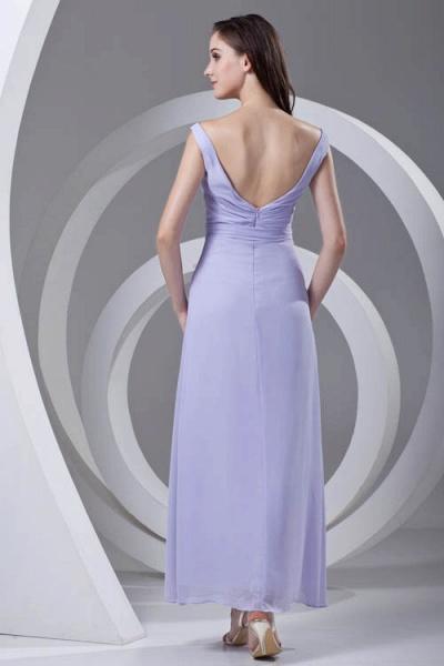 LERUC | A Type V-neck Long Sleeveless Chiffon Lilac Purple Bridesmaid Dress with Belt_6