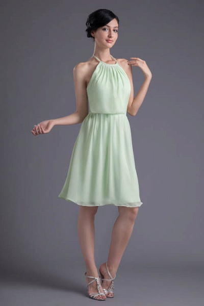 KYLEE | A Type Sector GreenChiffon Bridesmaid Dress with Fold_1