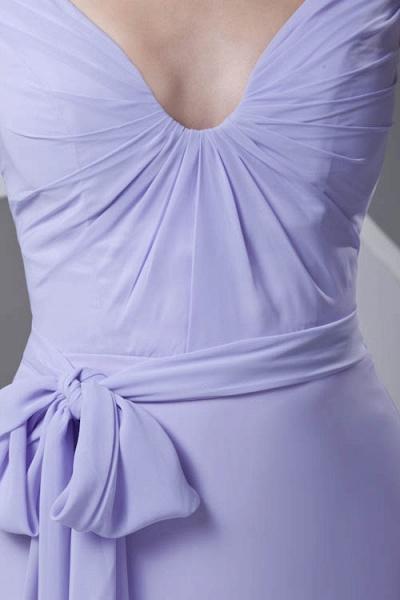 LERUC | A Type V-neck Long Sleeveless Chiffon Lilac Purple Bridesmaid Dress with Belt_8