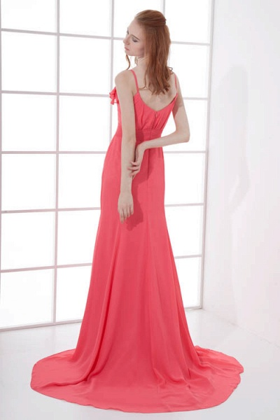 LEAH | A Type V-neck Drag To Long Sleeveless Chiffon Watermelon Red Bridesmaid Dress with Front Split_9