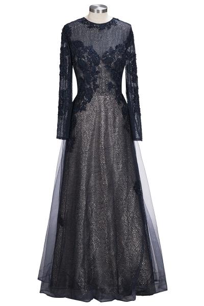 ODETTE | A-line Long Sleeves Floor Length Appliqued Tulle Prom Dresses_1