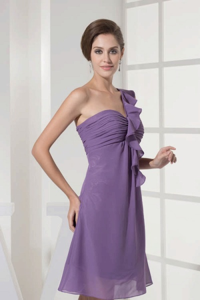 Exquisite One Shoulder Chiffon A-line Bridesmaid Dress_7
