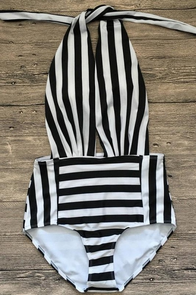 Black and white stripes One-piece Swimwear
