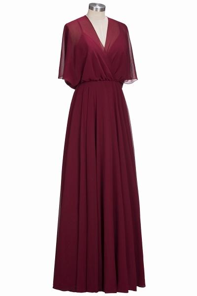 OLGA | A-line V-neck Floor Length Burgundy Chiffon Bridesmaid Dresses_6
