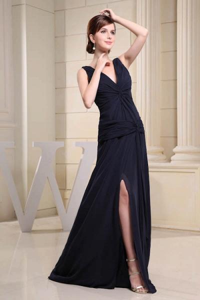 KIMORA | A Type V-Neck Chiffon Navy Blue Bridesmaid Dress with Fold_6