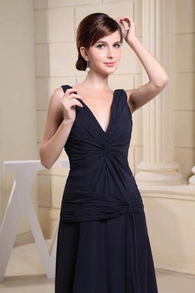 KIMORA | A Type V-Neck Chiffon Navy Blue Bridesmaid Dress with Fold_7