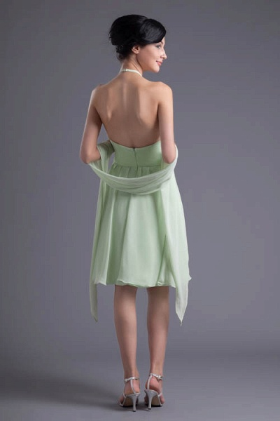 KYLEE | A Type Sector GreenChiffon Bridesmaid Dress with Fold_9