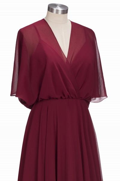 OLGA | A-line V-neck Floor Length Burgundy Chiffon Bridesmaid Dresses_4