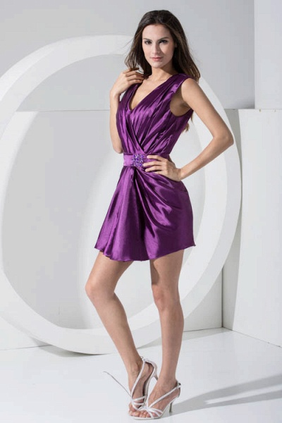 LAILAH | A Type V-neck Knee Length Sleeveless Chiffon Grape Purple Bridesmaid Dress with Fold_6