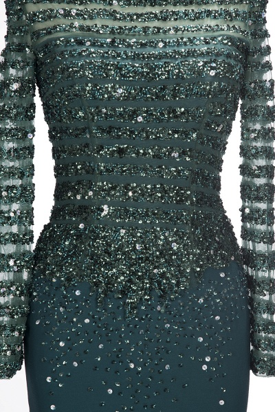 OLYMPIA | Mermaid Long Strapless Long Sleeves Prom Dresses with Sequins and Crystals_7