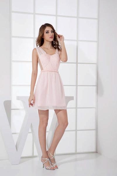 LEONA | A-line Scoop Mini Chiffon Bridesmaid Dresses_8