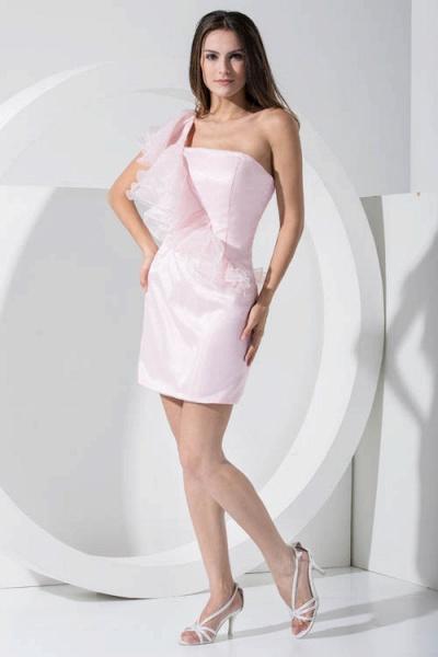 LAILA | A Type Shoulder Knee Length Sleeveless Chiffon Pink Bridesmaid Dress with Cross_4