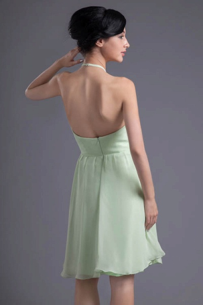 KYLEE | A Type Sector GreenChiffon Bridesmaid Dress with Fold_3
