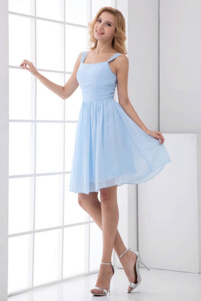 Square Neck Ruffle A-line Chiffon Bridesmaid Dress_1