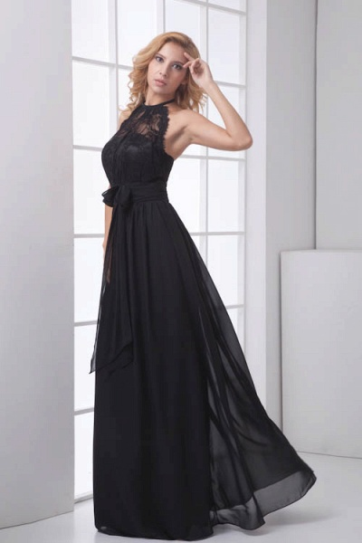 LEANNA | A Type Halter Long Sleeveless Chiffon Black Bridesmaid Dress with Lace_3
