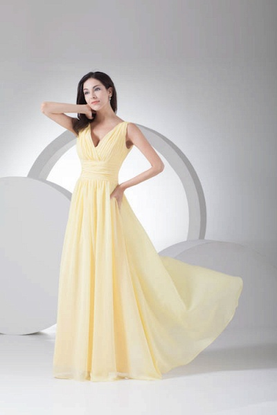 Excellent V-neck Chiffon A-line Bridesmaid Dress_9